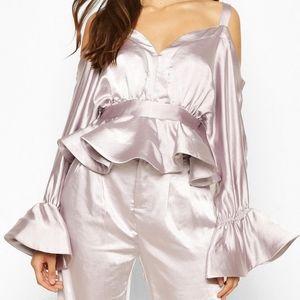 Satin peplum lilac metallic off shoulder cold top